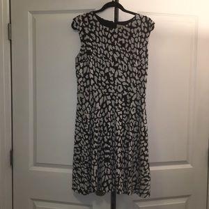 Loft Black/White Leopard Print Dress sz. M